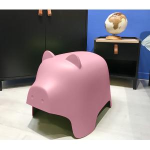 Chaise enfant en plastique rose - COCHON