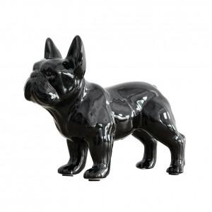 Statue décorative Bulldog français en résine laquée noir