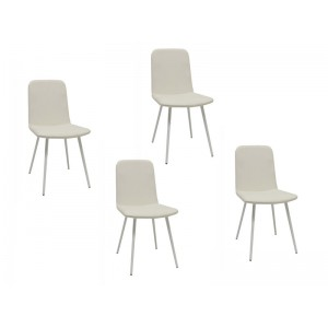 Tessa - Lot de 4 chaises blanches pieds métal