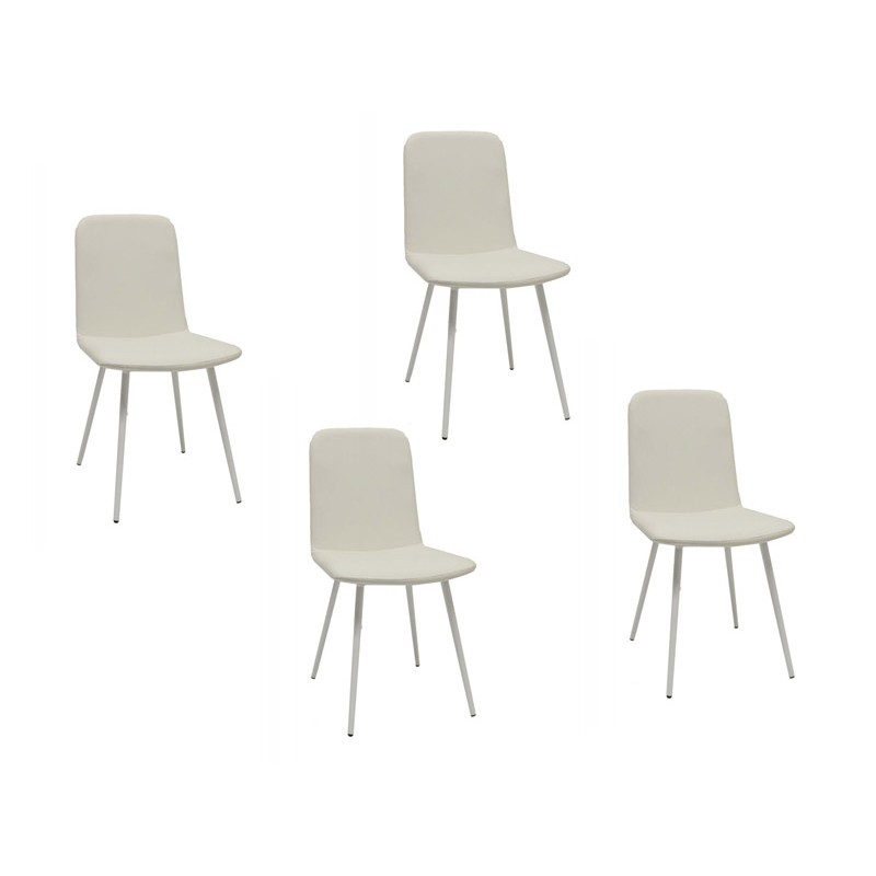 Lot de 4 chaises blanches pieds m tal tessa - Lot 4 chaises blanches ...