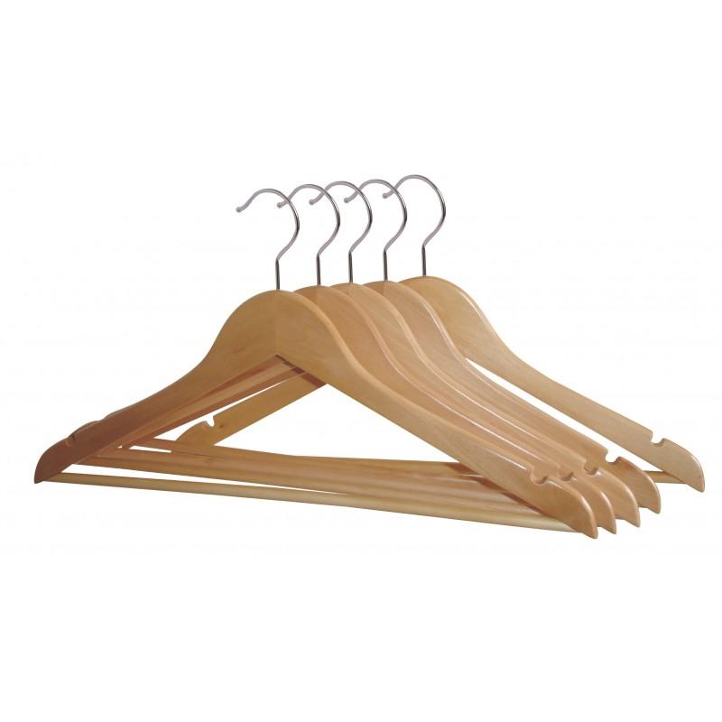 lot de 5 cintres en bois massif barre transversale pour. Black Bedroom Furniture Sets. Home Design Ideas