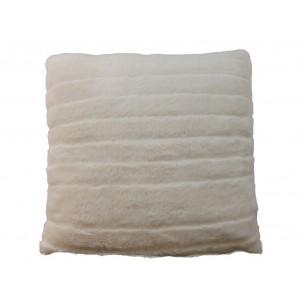 Coussin POLKA aspect velours blanc