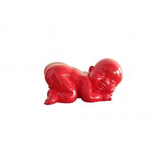 Statue HOMME laquée rouge
