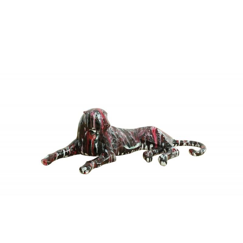 Statue panth re couch e noir rouge objet de d coration for Objet deco rouge et noir