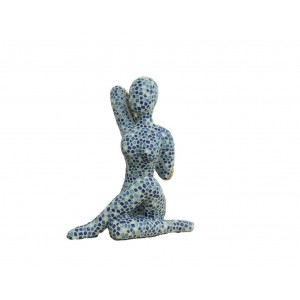 Statue FEMME mosaïque bleue