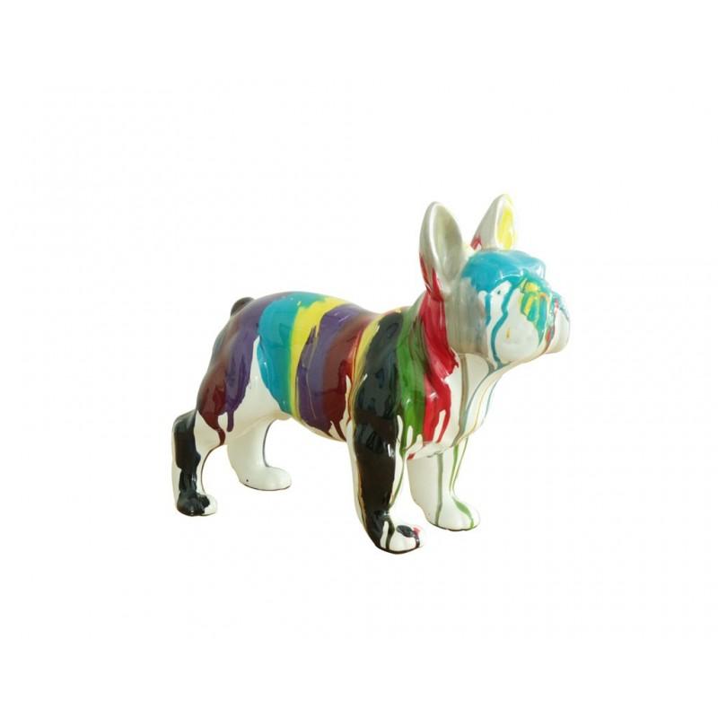 Bulldog français statue multicolore