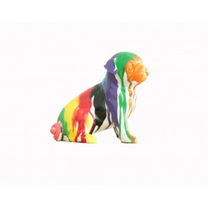 Statue petit chien assis Carlin multicolore