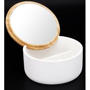 Boite ronde à bijoux WAVE - couvercle bambou avec miroir - blanc