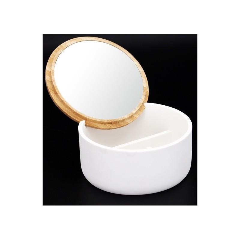 Boite Bijoux Avec Miroir Wave Couvercle En Bambou Avec