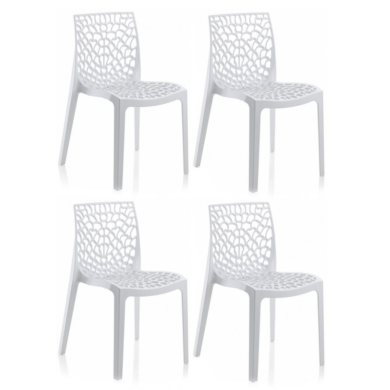 Lot 4 chaises ajour es empilables blanches gruyer - Lot 4 chaises blanches ...