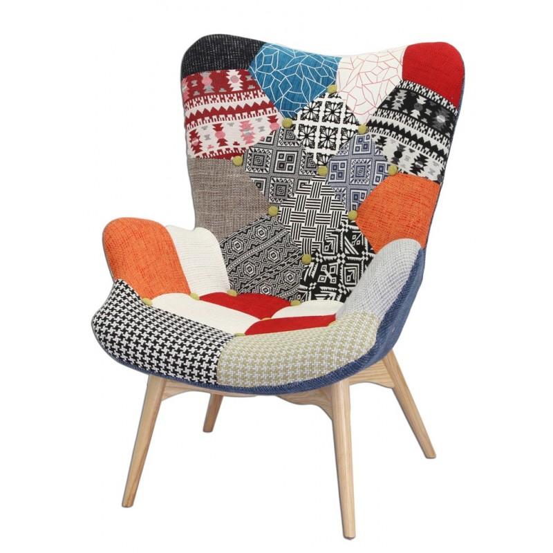 fauteuil patchwork bois et tissu darling. Black Bedroom Furniture Sets. Home Design Ideas