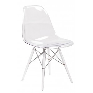 ZIGGY Lot 4 chaises transp & coussin noir