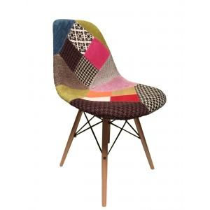 Lot 4 chaises tissu & bois de hêtre - RETRO