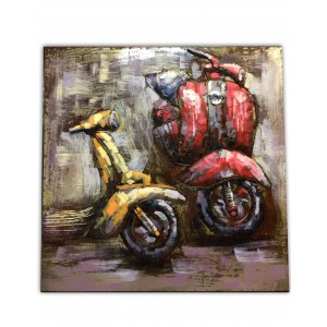 tableau m tallique relief 3d vespa toile cadre. Black Bedroom Furniture Sets. Home Design Ideas