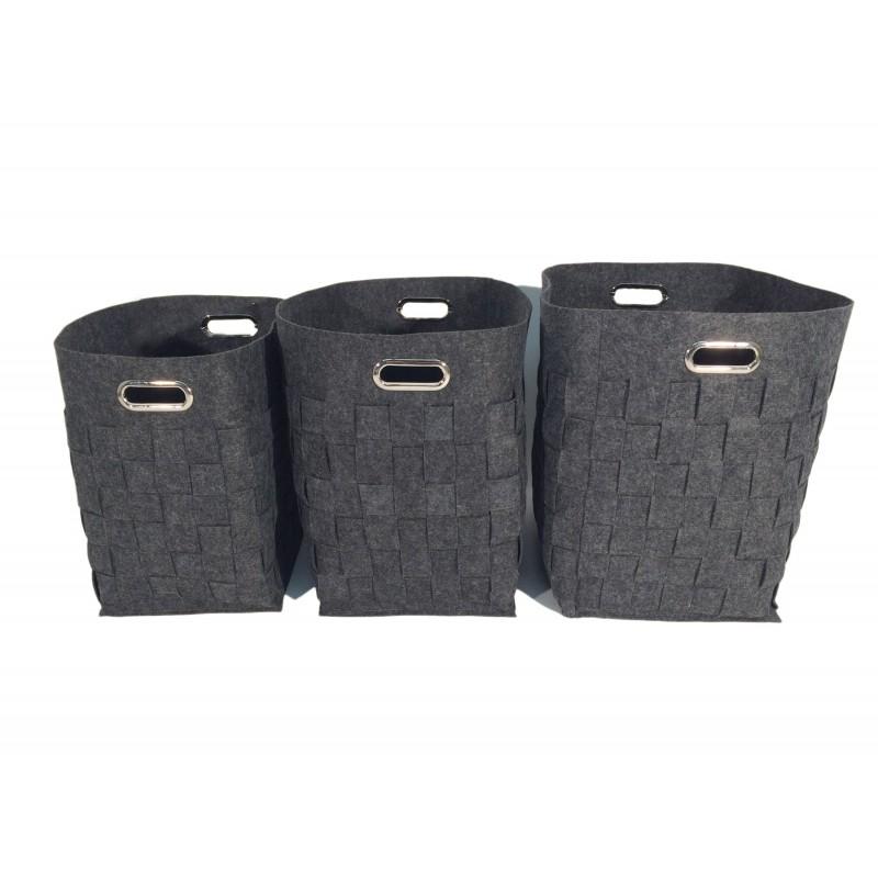 panier linge rangement en feutre gris. Black Bedroom Furniture Sets. Home Design Ideas