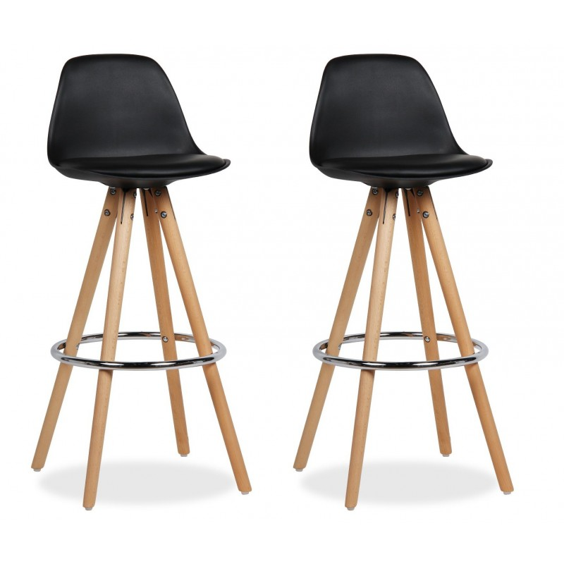 Lot Tabouret De Bar.Lot 2 Tabourets De Bar Design Pieds Bois Noir Diana