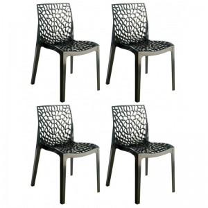 Lot 4 chaises ajourées empilables Noir - GRUYER