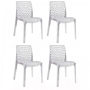 Lot 4 chaises ajourées empilables Transparent - GRUYER