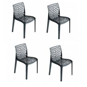 Lot 4 chaises ajourées empilables Fumé - GRUYER