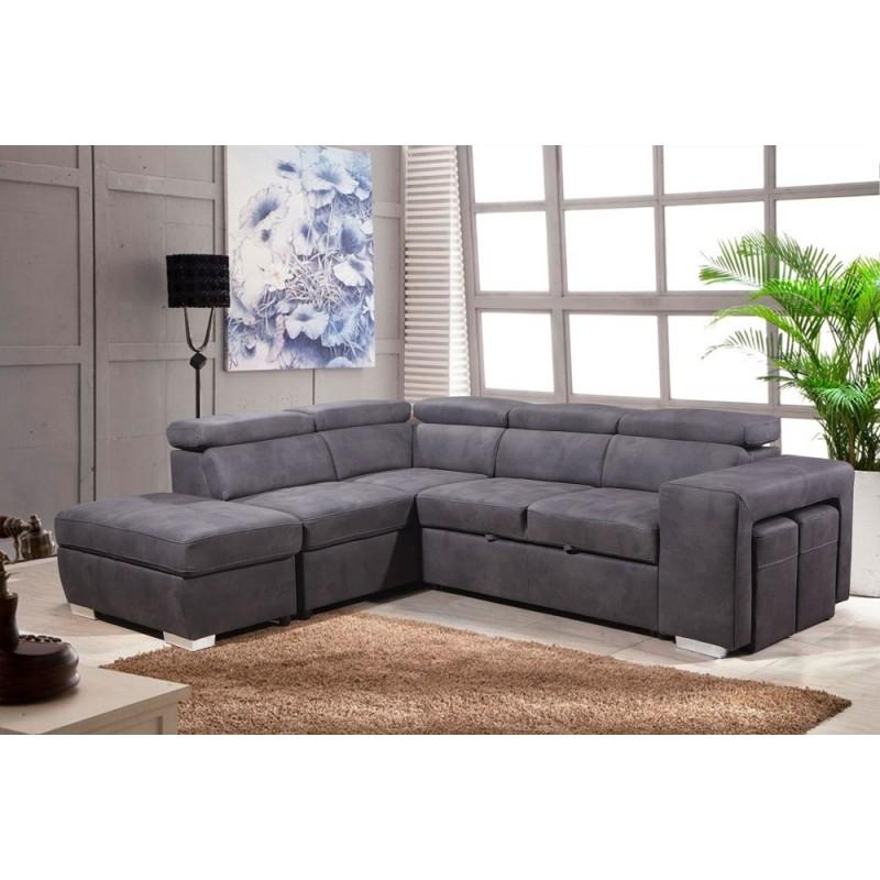 Canapé d'angle convertible gauche gris - AUSTIN
