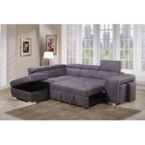 Canapé d'angle convertible gauche gris - VEGAS