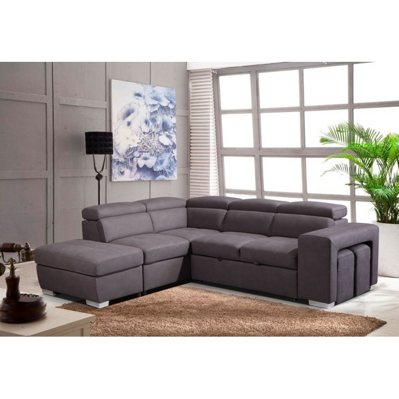 Canap d 39 angle convertible gauche taupe austin - Canape d angle convertible couchage quotidien ...