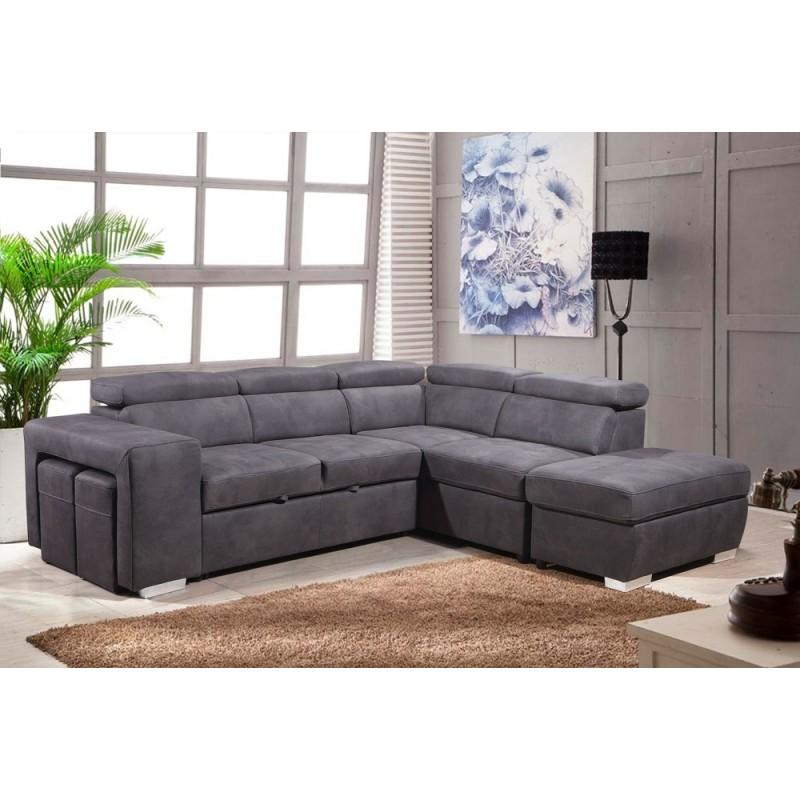 Canapé d'angle convertible droit gris - AUSTIN