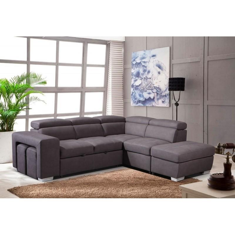 Canapé d'angle convertible droit taupe - AUSTIN