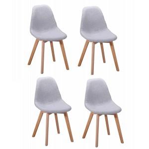 Chaise en tissu chiné Gris clair - SANDY
