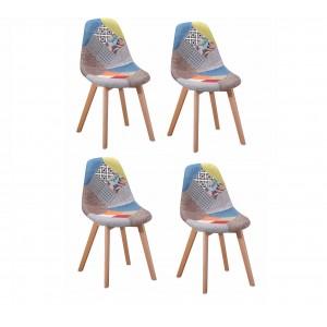 Chaise en tissu chiné Patchwork - SANDY