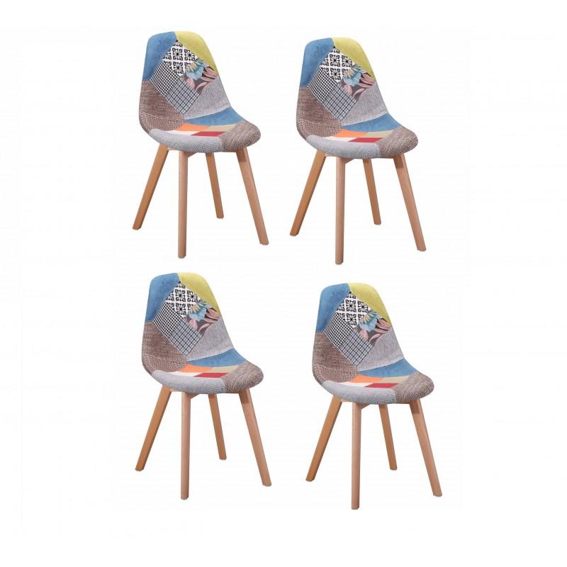 lot 4 chaises en tissu chin patchwork sandy. Black Bedroom Furniture Sets. Home Design Ideas