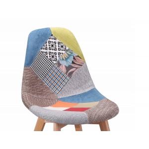 Chaise en tissu chiné Patchwork - SANDY dossier
