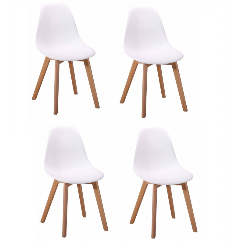 Lot 4 chaises design scandinave - Blanc - DAWY