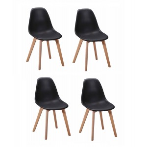 Lot 4 chaises design scandinave - Noir - DAWY