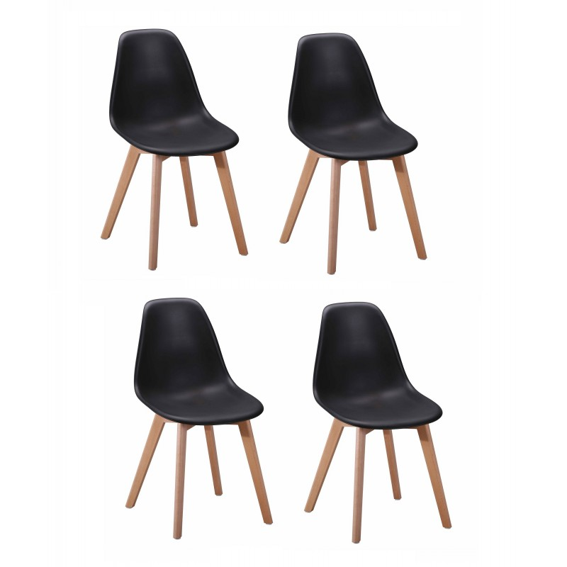 lot 4 chaises design scandinave noir dawy. Black Bedroom Furniture Sets. Home Design Ideas