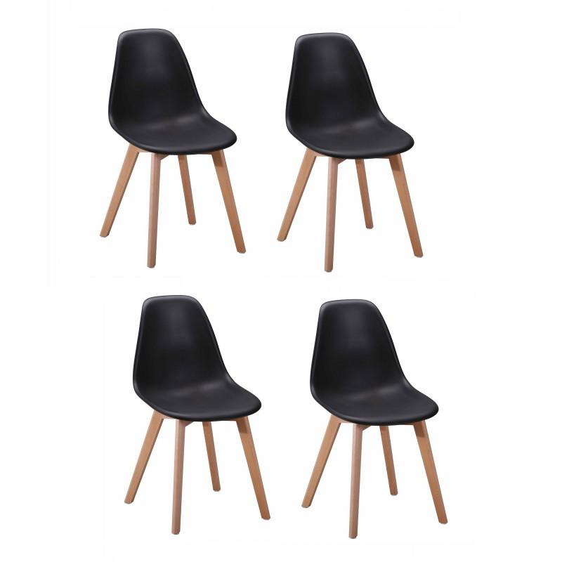 Lot 4 chaises design scandinave - Noir - DAWY