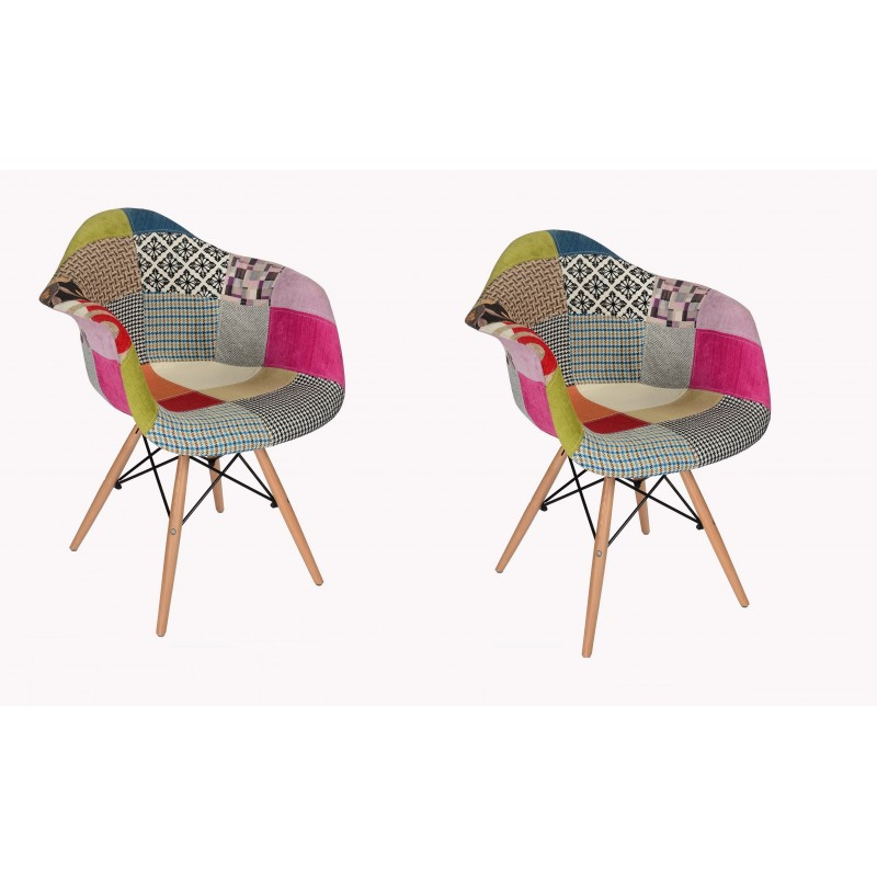 Lot 2 fauteuils patchwork tapissés design - ENZO