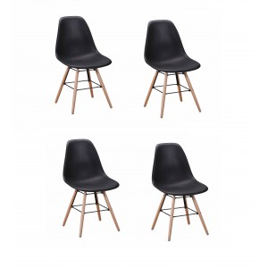 Lot 4 chaises design scandinave - Noir - DUNDEE