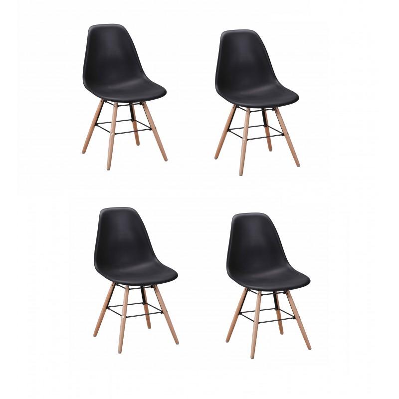 Lot 4 chaises design scandinave - Noir - DUNDEE
