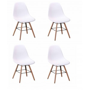 Lot 4 chaises design scandinave - Blanc - DUNDEE