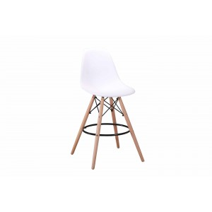 Lot 2 tabourets de bar - Scandinave - Blanc - TOWER