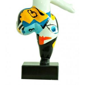 Statue femme figurine blanche danseuse décoration multicolore - style pop art