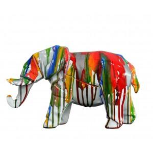 Eléphant blanc - statue décorative - laquée jets de peintures multicolores
