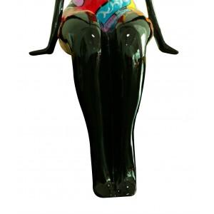Statue femme figurine - décoration noire et multicolore style pop art - objet design moderne
