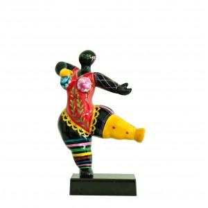 Statue femme noire figurine danseuse décoration multicolore - objet design moderne