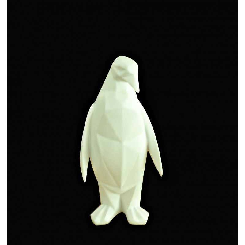 Statue pingouin blanc mat décoration art cubique - style moderne contemporain