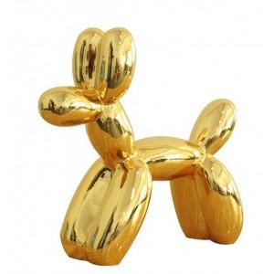 Petit chien doré style BALOON - Figurine décorative - objet design moderne