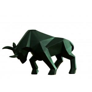 Statue taureau noir décoration style cubique - objet design moderne