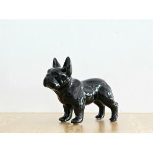 Bulldog chien noir - statue décorative - objet design moderne