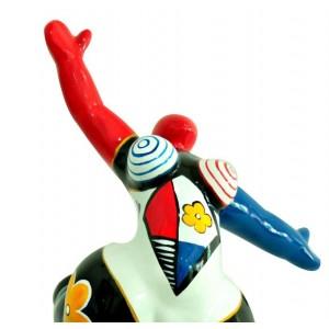 Statue femme figurine danseuse décoration multicolore - style pop art - objet design moderne